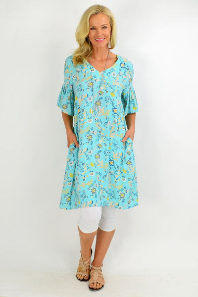Aqua Pretty Fluted Cuff Floral Tunic Dress