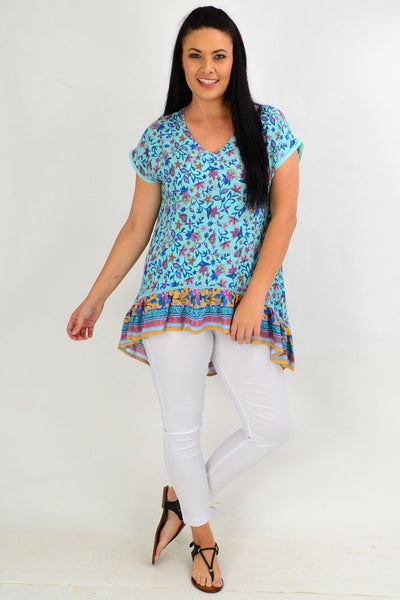 Aqua Floral Hi Low Tunic Top
