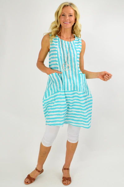 Aqua Essential Stripe Bubble Tunic Dress | I Love Tunics | Tunic Tops | Tunic | Tunic Dresses  | womens clothing online
