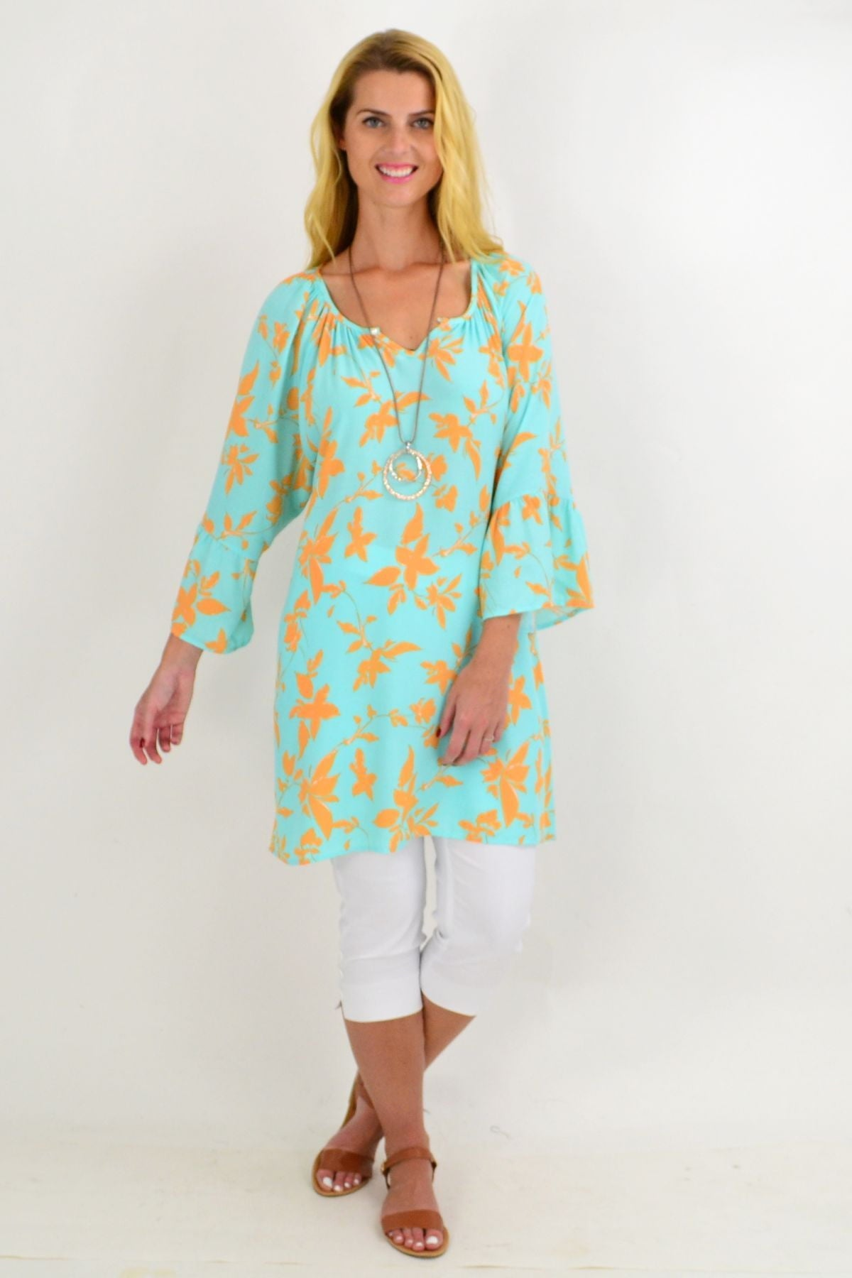 Aqua Orange Leaf Light & Pretty Tunic Top | I Love Tunics | Tunic Tops | Tunic | Tunic Dresses  | womens clothing online