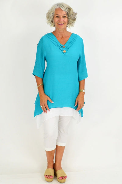 Aqua Short Sleeve Overlay Tunic Top