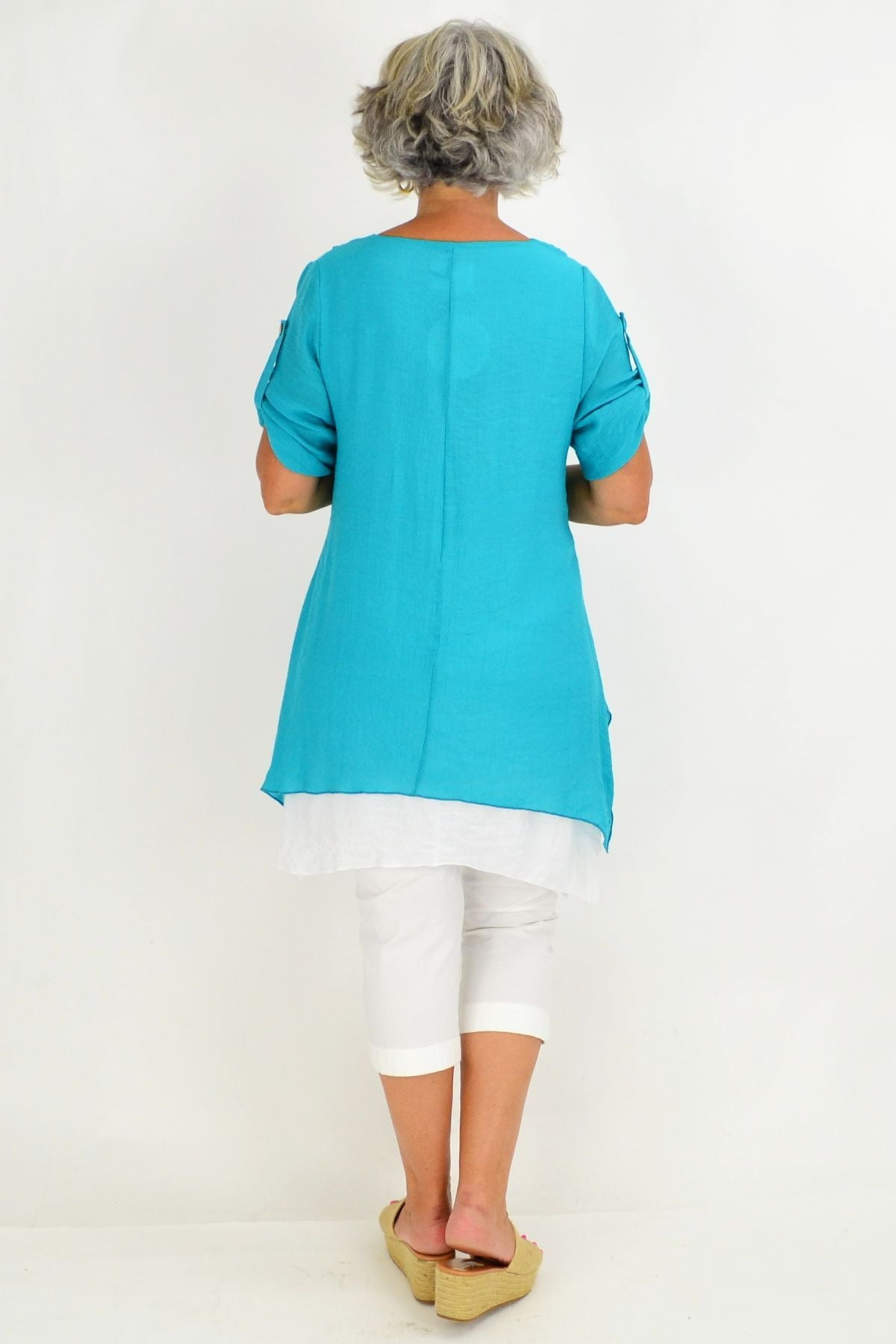 Aqua Short Sleeve Overlay Tunic Top | I Love Tunics | Tunic Tops | Tunic | Tunic Dresses  | womens clothing online