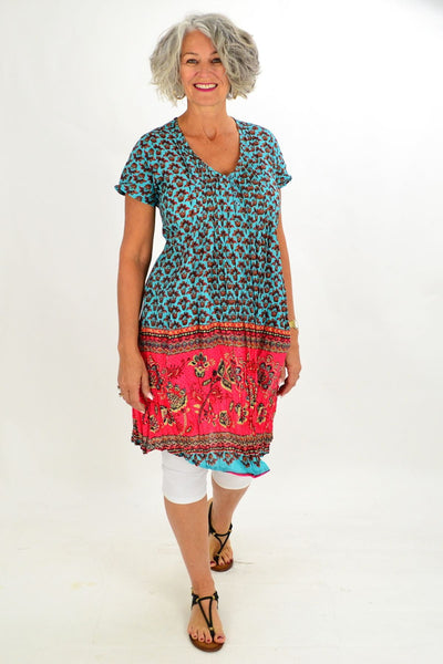 Aqua Pink Short Sleeve Tunic Top
