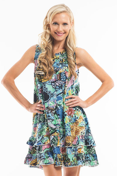 Aqua Abstract Sleeveless Tunic - at I Love Tunics @ www.ilovetunics.com = Number One! Tunics Destination