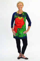 Navy Rose Tunic - at I Love Tunics @ www.ilovetunics.com = Number One! Tunics Destination