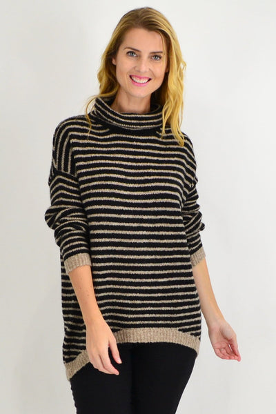Black Stripe Mohair Hi Low Knit Tunic