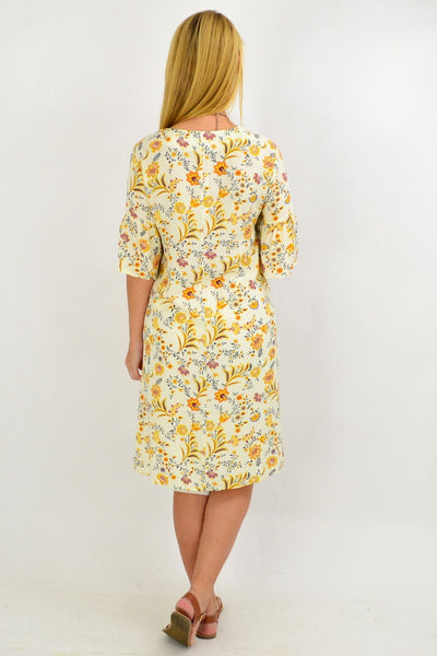 Yellow Pretty Fluted Cuff Floral Tunic Dress | I Love Tunics | Tunic Tops | Tunic | Tunic Dresses  | womens clothing online
