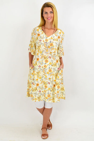 Yellow Pretty Fluted Cuff Floral Tunic Dress