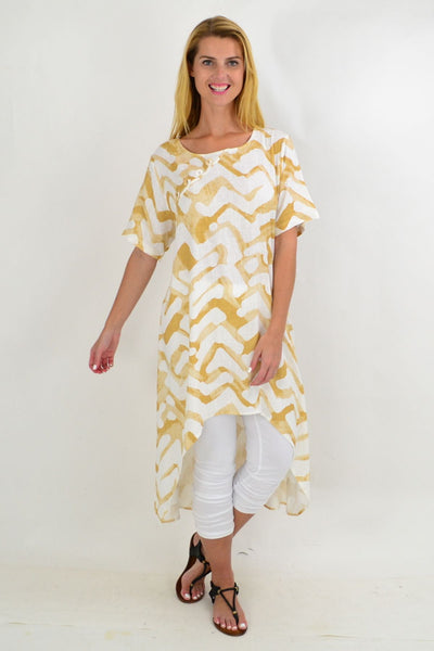 Tribal Print Linen Mix Hi Low Hem Tunic