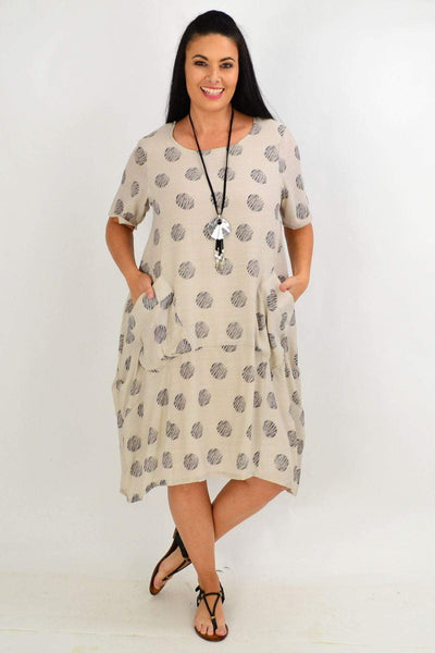 Taupe Dots Bubble Tunic Dress | I Love Tunics | Tunic Tops | Tunic | Tunic Dresses  | womens clothing online
