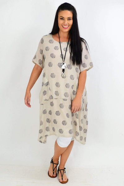 Taupe Dots Bubble Tunic Dress
