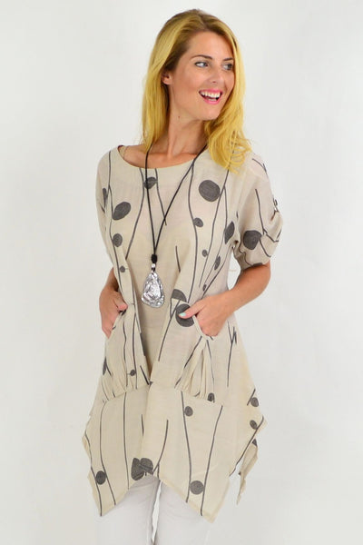 Taupe Charcoal Deb Dots Tunic Top