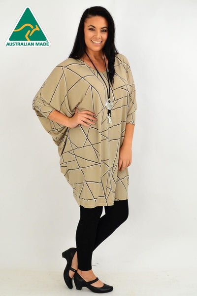 Beige Stripe Oversized Tunic Dress | I Love Tunics | Tunic Tops | Tunic | Tunic Dresses  | womens clothing online