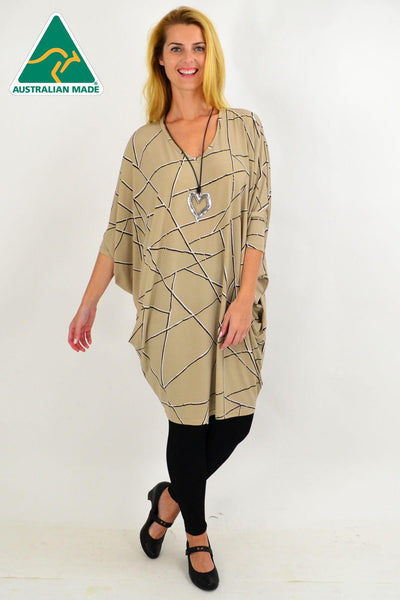Beige Stripe Oversized Tunic Dress