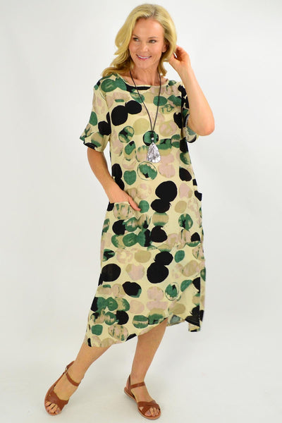 Natural Gabby Green Spot Relaxed Tunic Dress | I Love Tunics | Tunic Tops | Tunic | Tunic Dresses  | womens clothing online