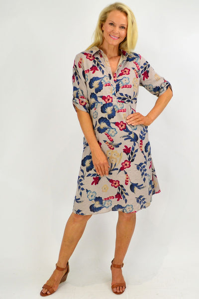 Red Flower Linen Blend Tunic Dress with Pockets