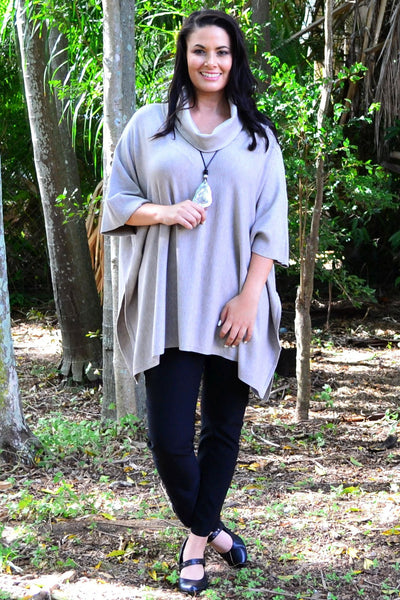 Oversized Knit Tunic Poncho Jumper