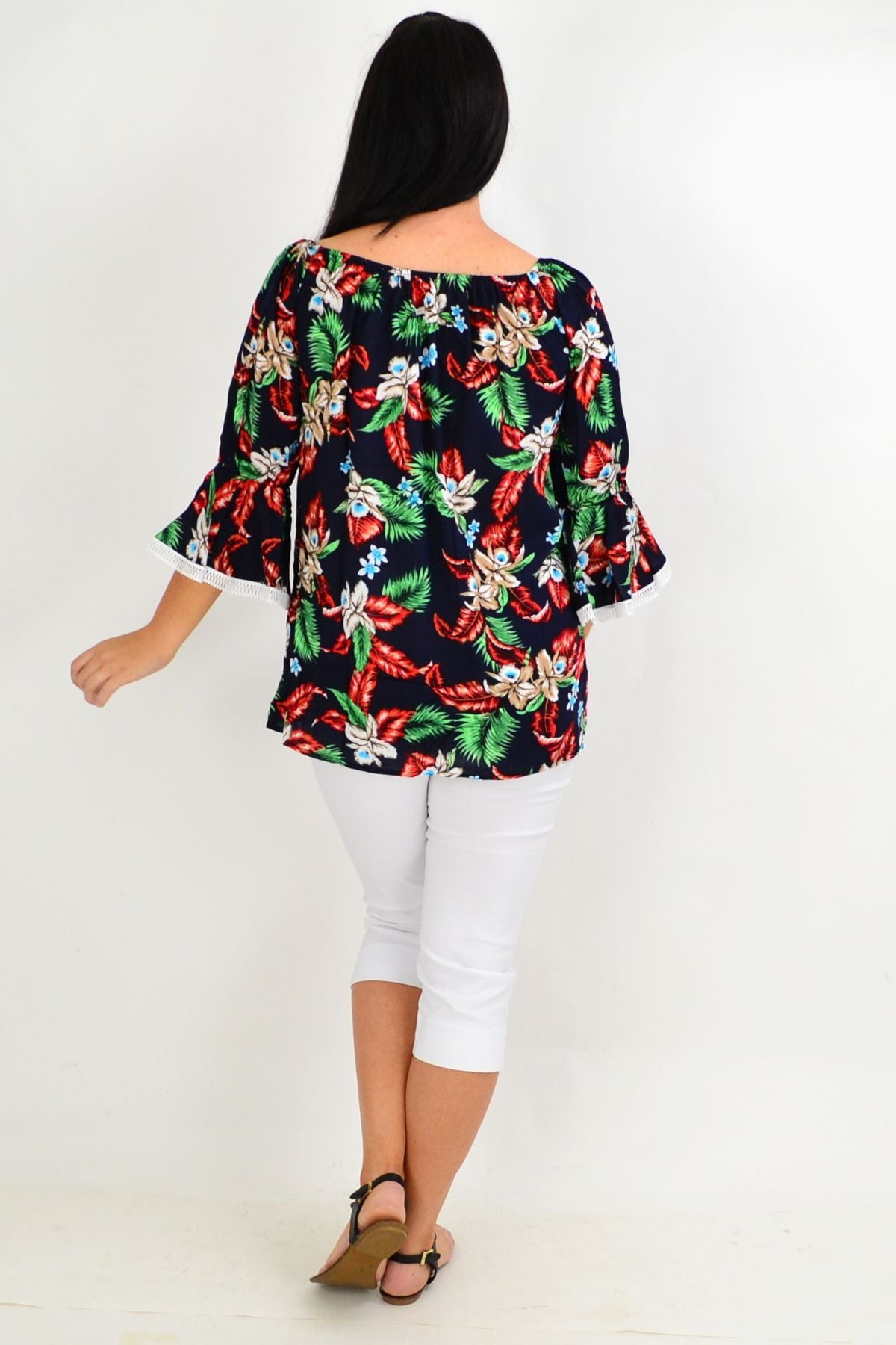 Navy Tropical Tassel Off shoulder Tunic Top | I Love Tunics | Tunic Tops | Tunic | Tunic Dresses  | womens clothing online