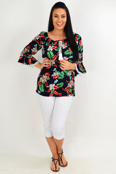 Navy Tropical Tassel Off shoulder Tunic Top