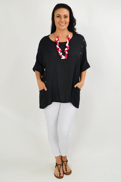 Black Coconut Button Sloping Sleeve Tunic Top