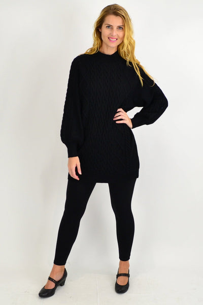 Black Cable Knit Woolly Tunic Jumper