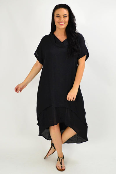 Black Cowl Neck Long Tunic Dress