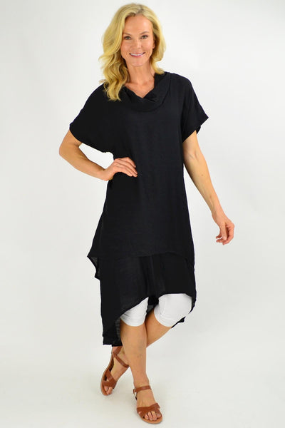 Black Cowl Neck Long Tunic Dress | I Love Tunics | Tunic Tops | Tunic | Tunic Dresses  | womens clothing online