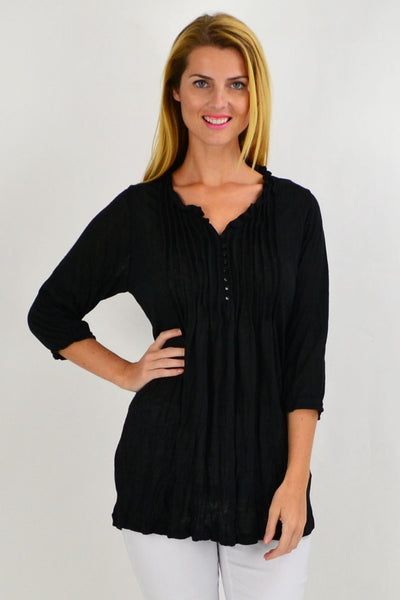 Black Pleat Crinkle Tunic Top