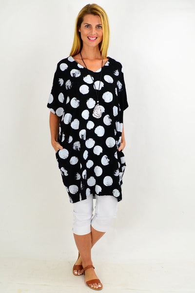 Black Dot Cocoon Tunic Top
