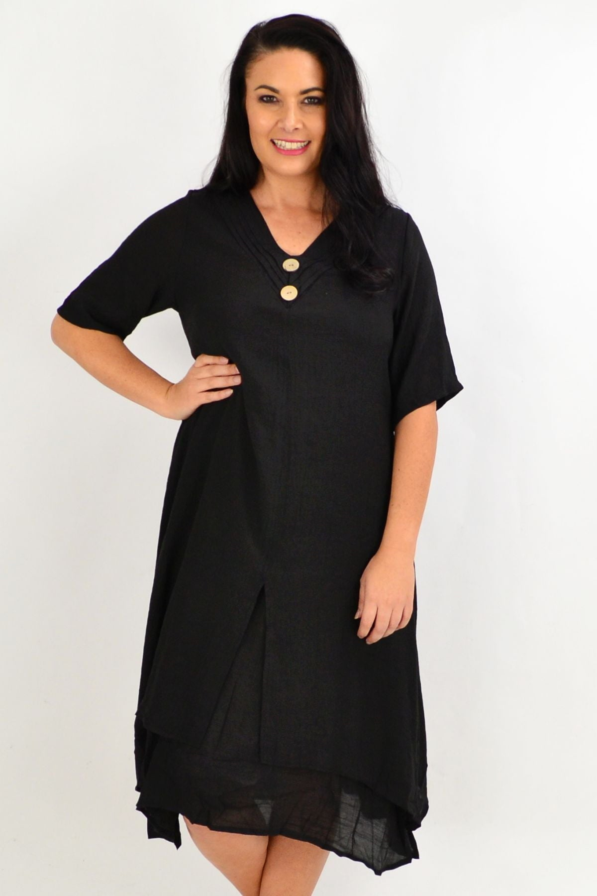 Black Overlay Tunic Dress
