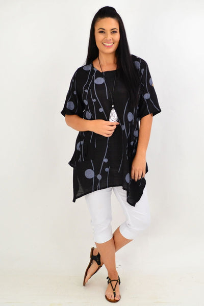 Black Deb Dots Relaxed Tunic Top