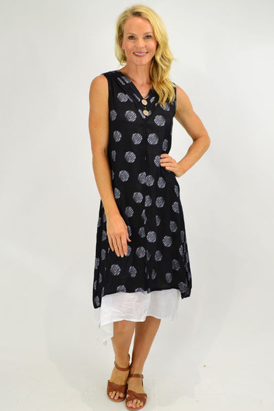 Sleeveless Black Dots Overlay Tunic Dress | I Love Tunics | Tunic Tops | Tunic | Tunic Dresses  | womens clothing online