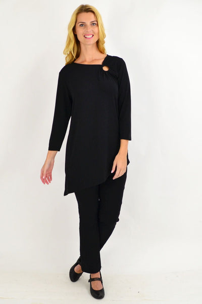 Key Hole Black Tunic Top