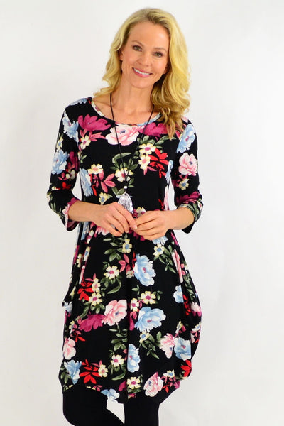 Floral Cocoon Tunic Dress | I Love Tunics | Tunic Tops | Tunic | Tunic Dresses  | womens clothing online