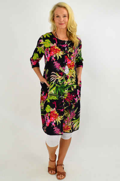 Floral Bouquet Button Up Tunic Dress