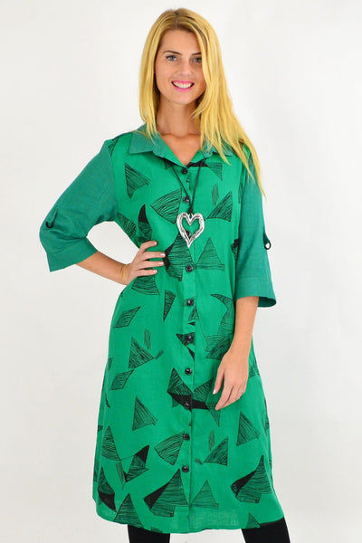 Green Black Abstract Shirt Dress