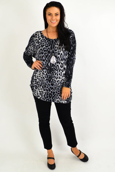 Grey Leopard Wool Blend Tunic Top