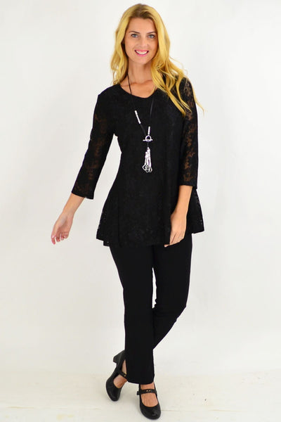 Night Out Black Lace Tunic