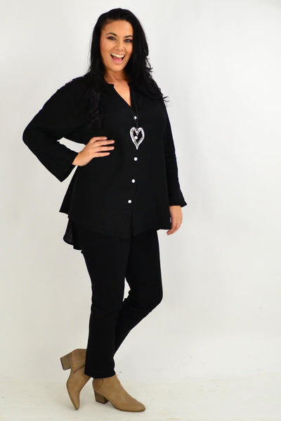 Black V Neck Linen Shirt