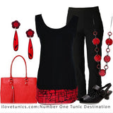 Black Red Sleeveless Tunic | I Love Tunics | Tunic Tops | Tunic Dresses | Women's Tops | Plus Size Australia | Mature Fashion