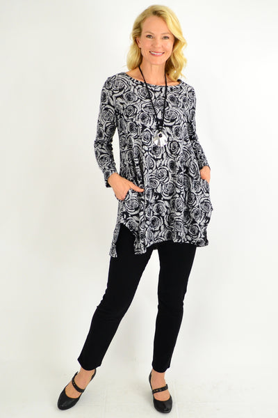 Rose Winter Fleece Tunic Top