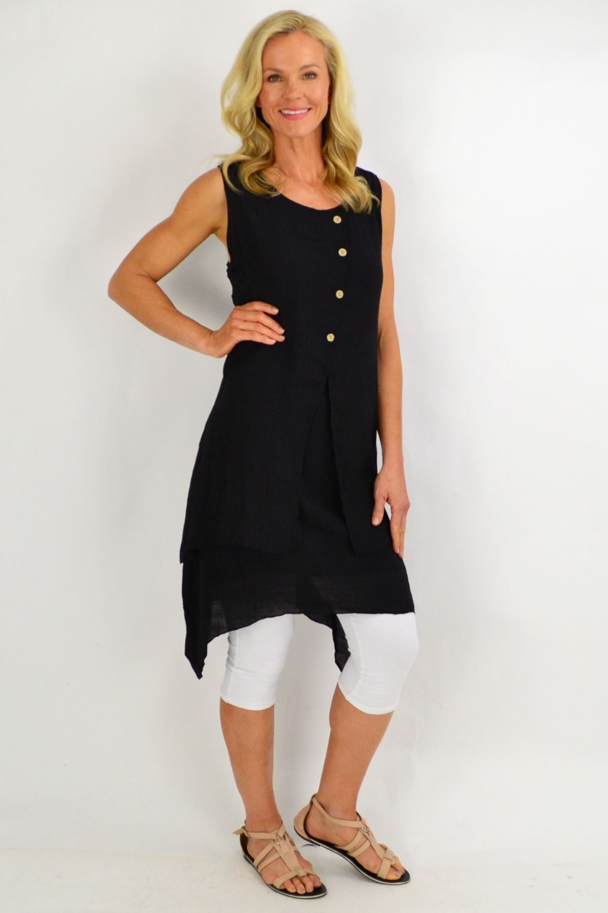 Black Button Overlay Summer Tunic Dress