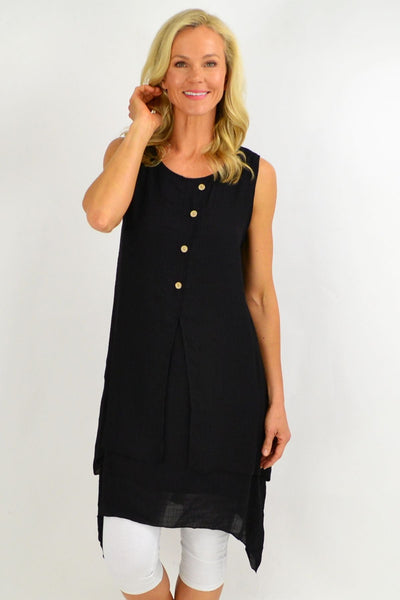 Black Button Overlay Summer Tunic Dress | I Love Tunics | Tunic Tops | Tunic | Tunic Dresses  | womens clothing online