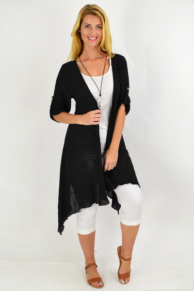 Black Easy Wear Long Summer Cardi