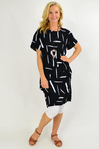 Black Brush Stroke Tunic Dress