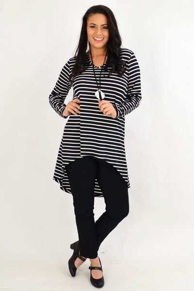 Vee Swing Stripe Tunic Top by Cordelia St