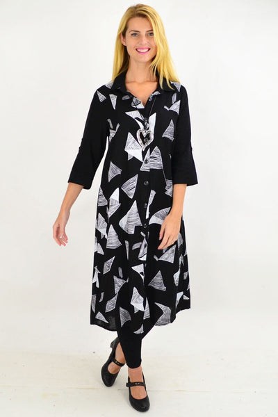 Black White Abstract Shirt Dress