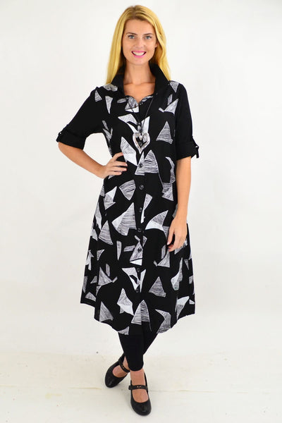 Black White Abstract Shirt Dress | I Love Tunics | Tunic Tops | Tunic | Tunic Dresses  | womens clothing online