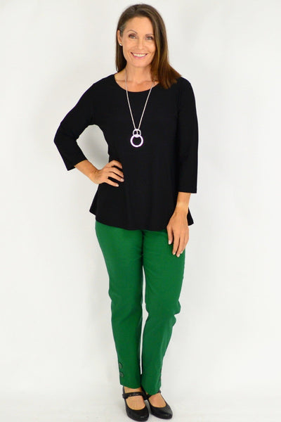 Black 3/4 Sleeve Basic Tunic Top