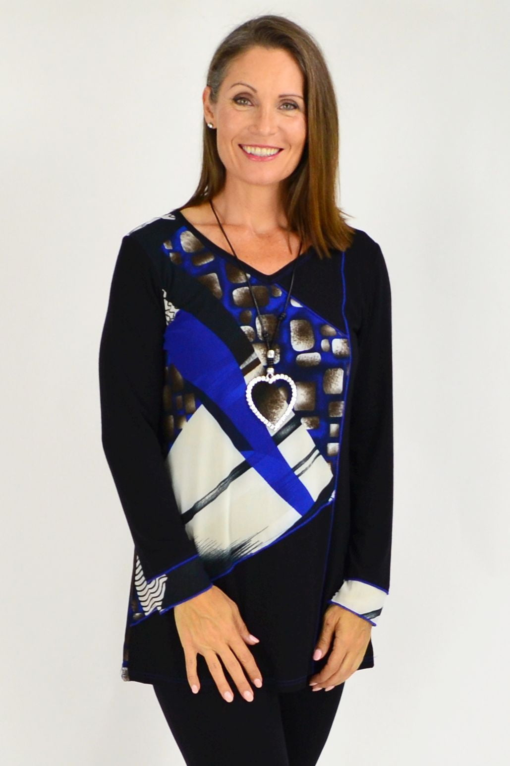 Black Blue Pattern Tunic Top | I Love Tunics | Tunic Tops | Tunic | Tunic Dresses  | womens clothing online
